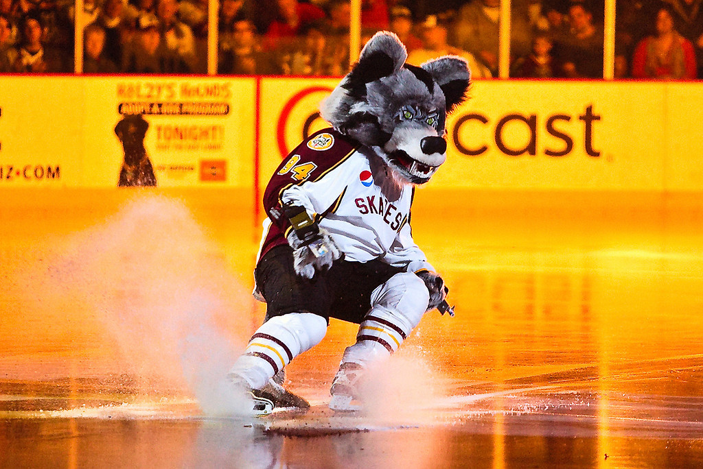Skates, the hated but certainly not feared Chiacgo Wolves Mascot, December 19, 2009
